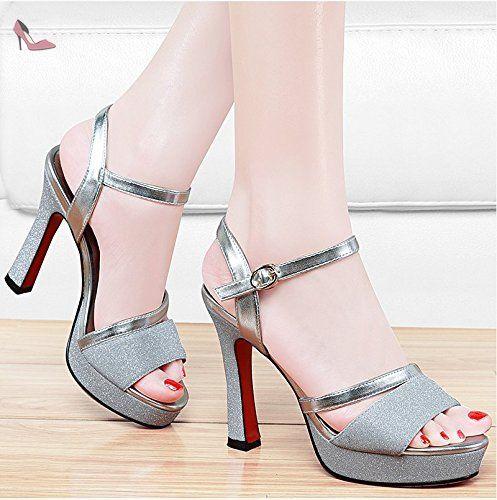 RUGAI-UE La mode des femmes d'été confortables sandales hauts talons,bleu 37