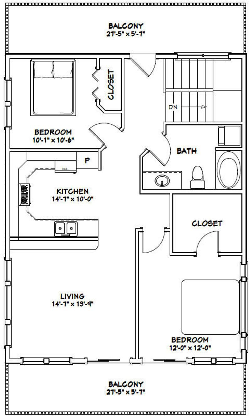28x36 House 2Bedroom 1.5Bath 1,170 sq ft PDF