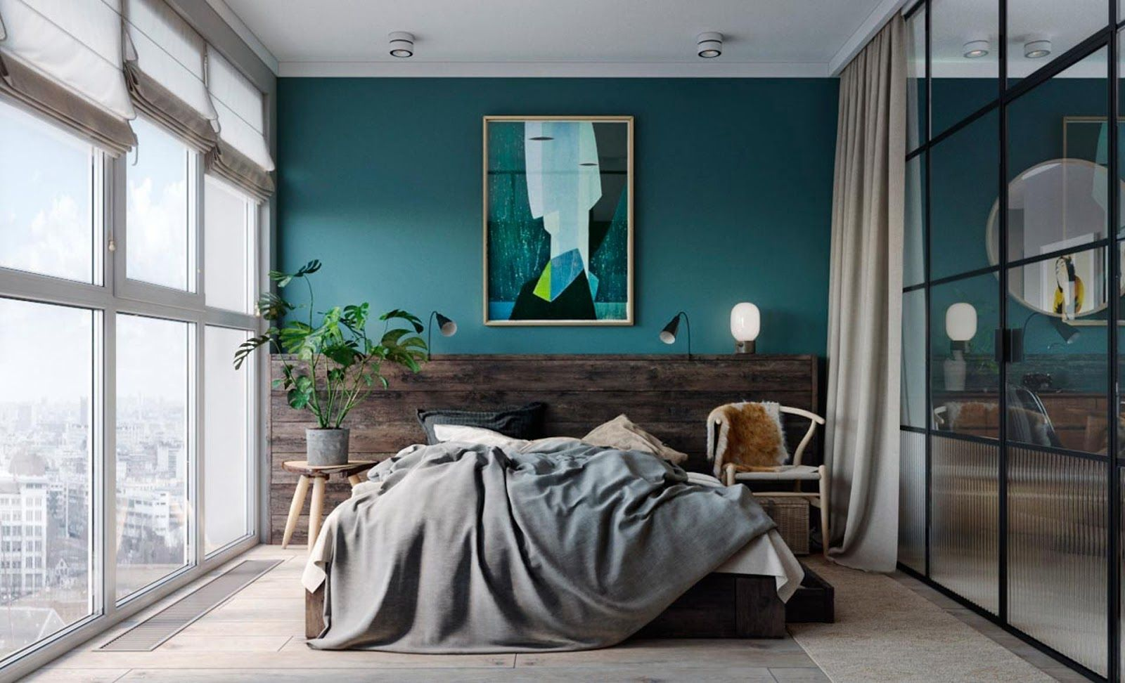 smal loft interior with teal walls, wegner chair and glass panel ...