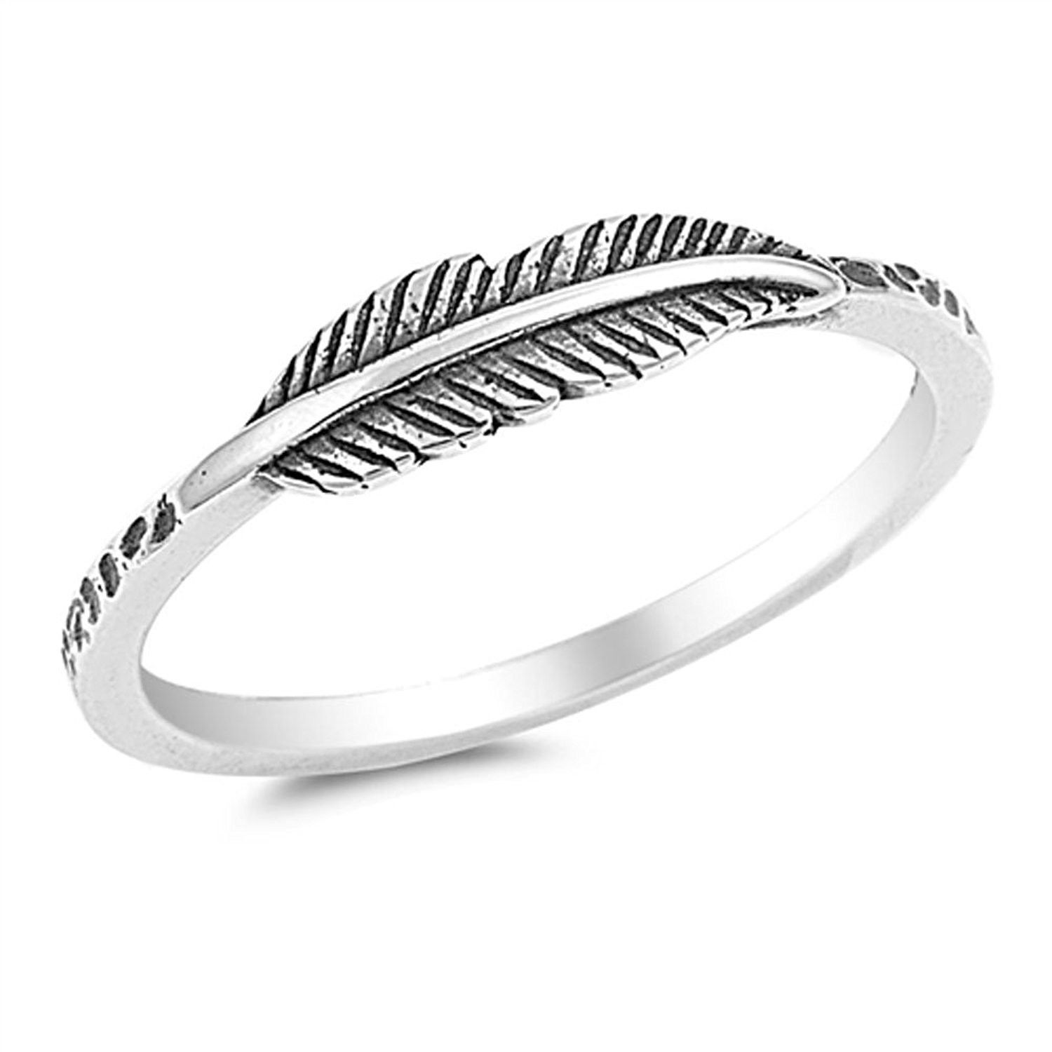 Benefiting The American Red Cross 925 Sterling Silver Ring Boruo Feather Ring Size 4-12