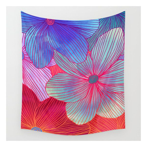 Between The Lines 2 - Tropical Flowers In Purple, … Wall Tapestry ($39) ❤ liked on Polyvore featuring home, home decor, wall art, wall tapestries, outdoor wall art, outside home decor, water painting, outside wall art and purple home accessories