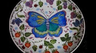 Como pintar tazas y platos de porcelana - Delia di Giorgio - YouTube