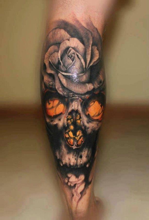 Tattoo Wade 3d Schädel Mit Rose Ink Tattoos Skull Tattoos Und