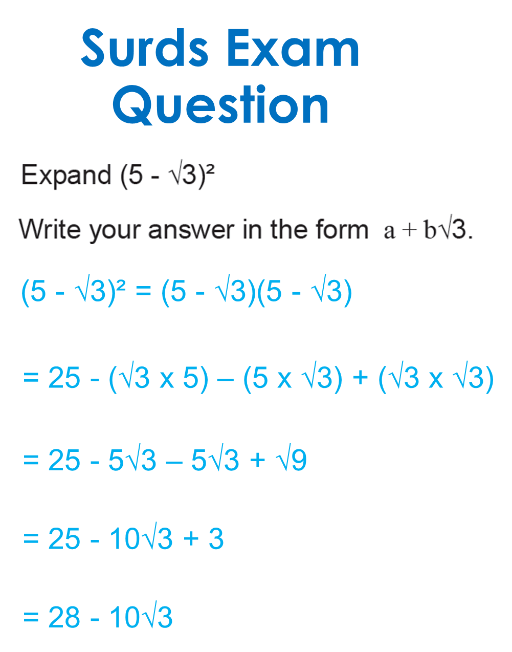 GCSE Surds exam question and solution | velan | Maths exam