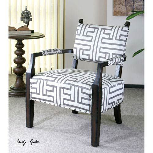 Uttermost Terica Dark Gray And Off White Geometric Accent