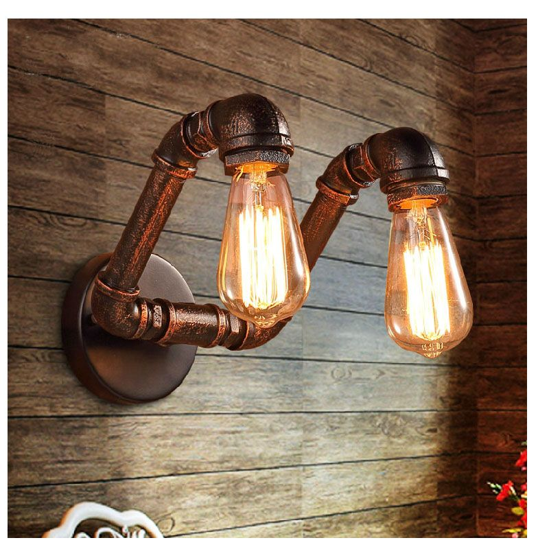 Iwhd Water Pipe Retro Vintage Ceiling Light Fixtures: Retro Copper Iron Industrial Water Pipe Vintage Loft Black