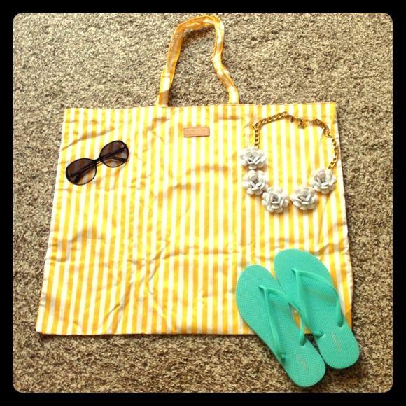 Superior Yellow White Striped Beach Bag Shopper Tote NEW