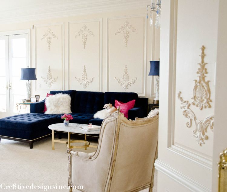 Marble Oval Coffee Table + Navy Tufted Sectional