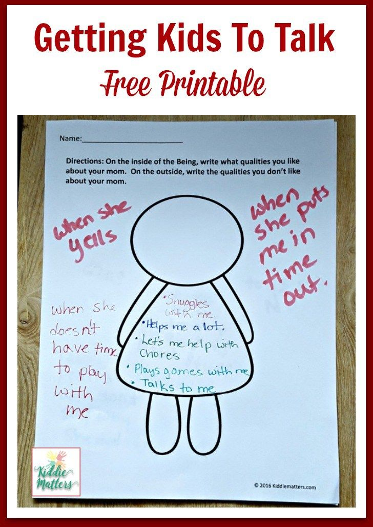Getting Kids To Talk With Free Printable Best Of Kiddie Matters