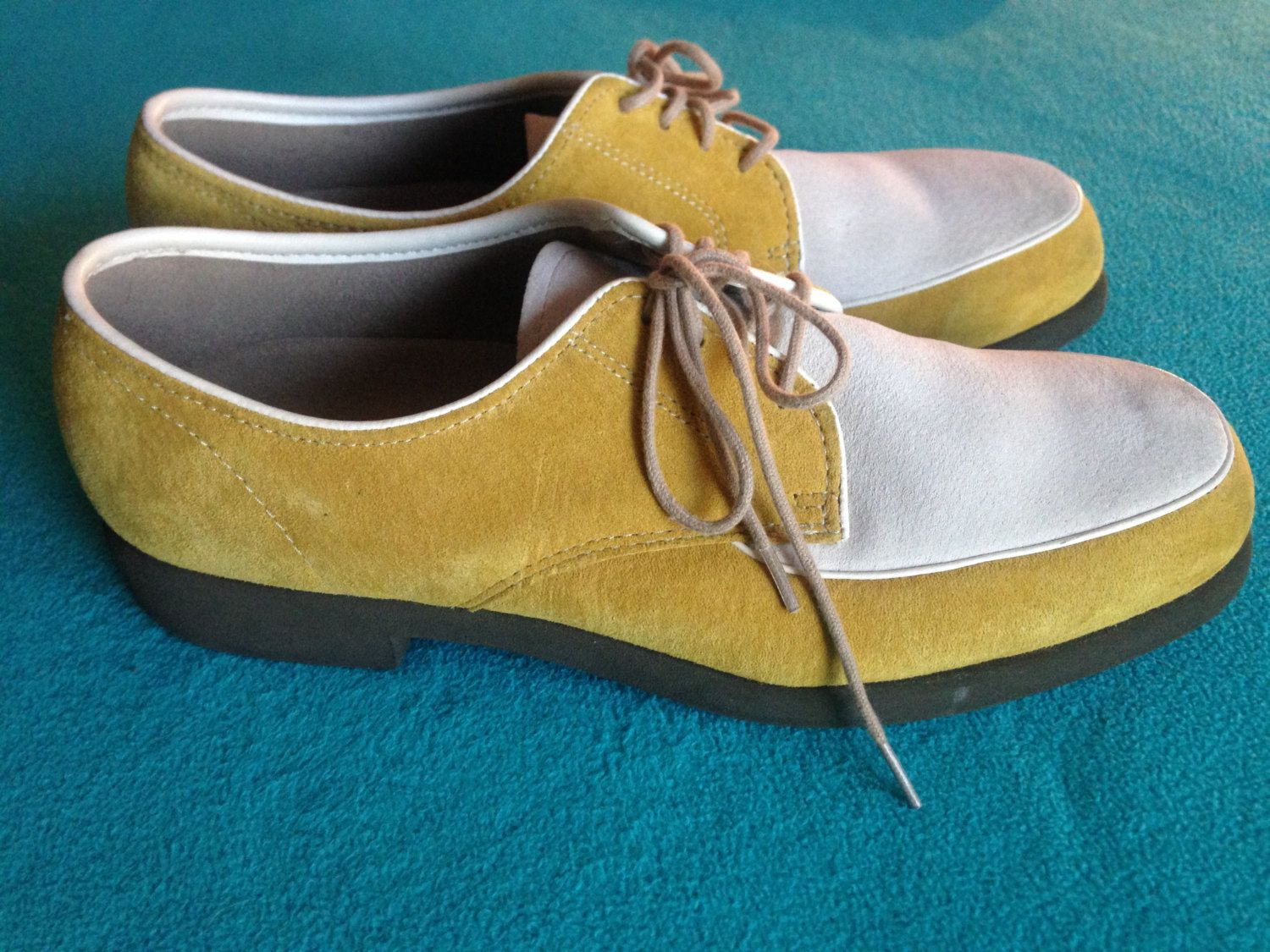 Cyber Monday Deal 70s 80s Mustard Yellow Suede Hush Puppies Men S Shoes Dress Shoes Creepers Oxfor Hush Puppies Mens Shoes Dress Shoes Men Vintage Clothing Men