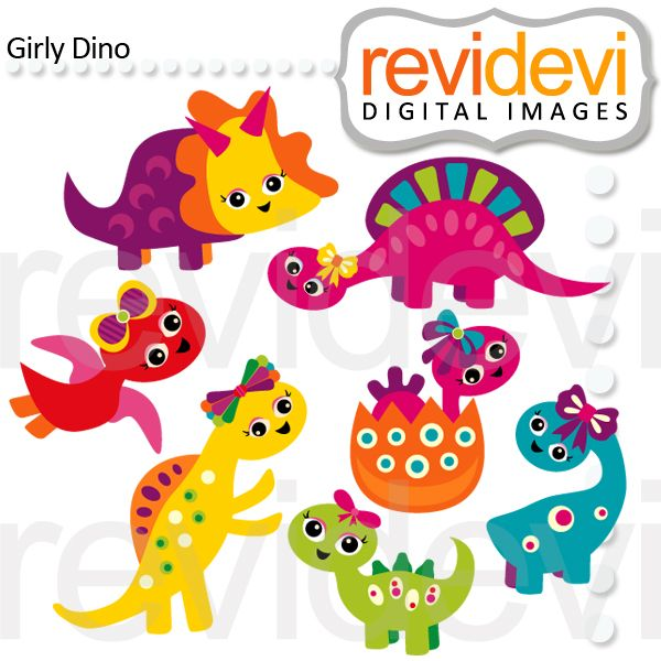 This girly dino clipart set is adorable for your next for Girly dinosaur fabric