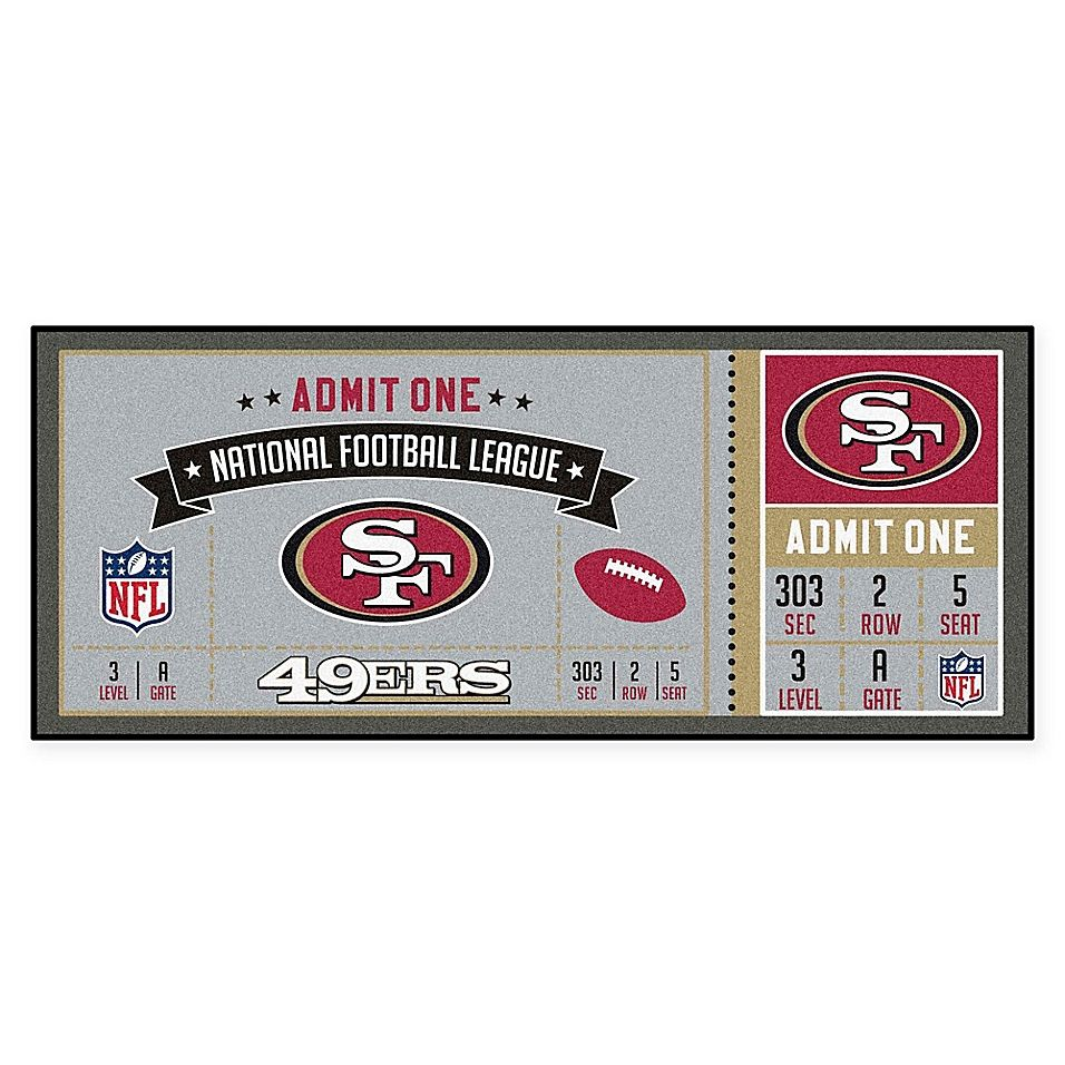 Nfl San Franscisco 49ers Game Ticket Carpeted Runner Mat Nfl Tickets Game Tickets Nfl