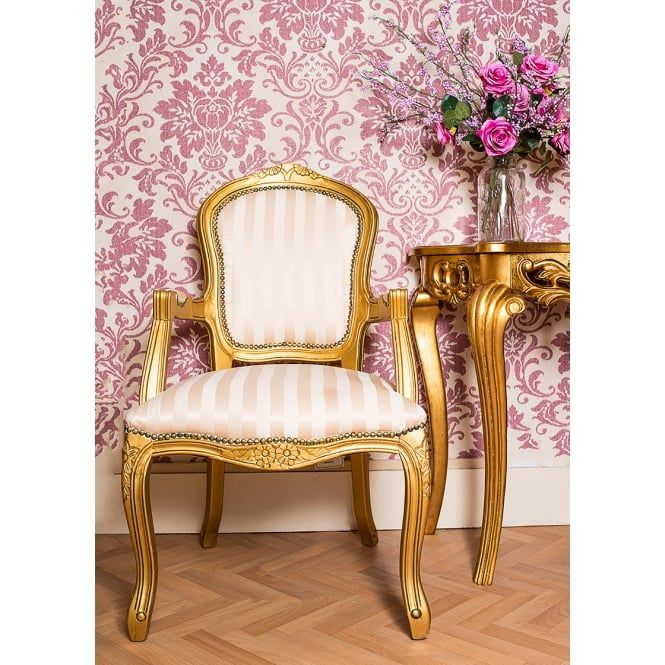 Chic My Room French Louis armchair gilt gold stripe shabby chic antique  style bedroom hall occasional - Chic My Room French Louis Armchair Gilt Gold Stripe Shabby Chic