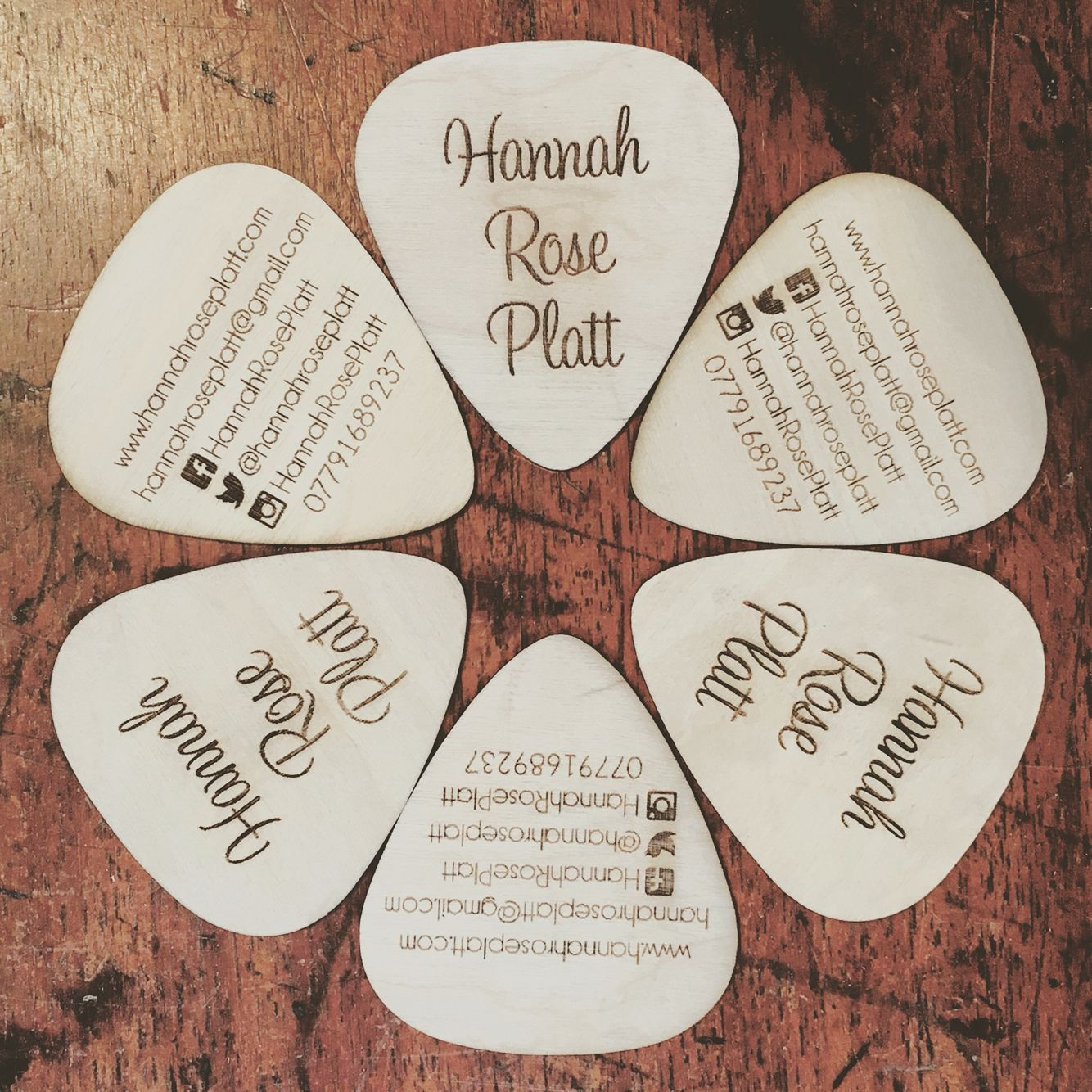 Unique and unusual wooden business cards for musician Hannah Rose ...