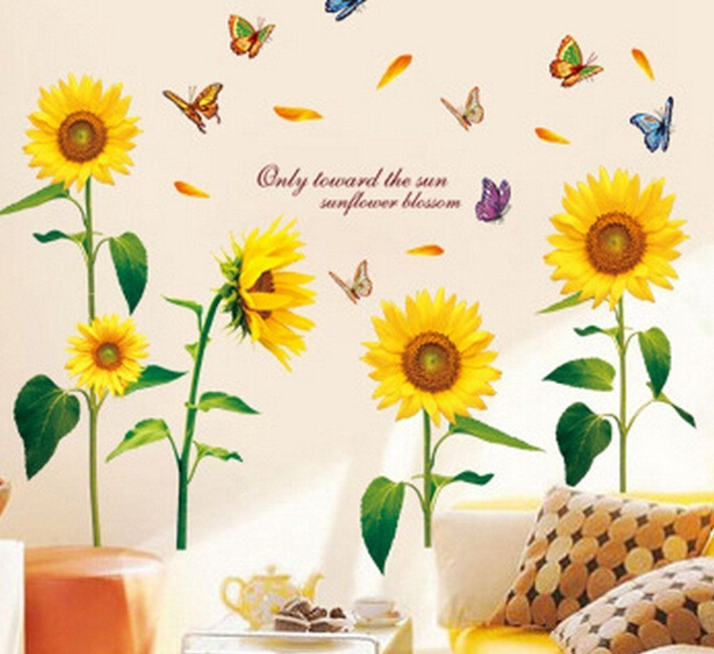 Alvak Removable sunflowers Home Decor Decal Art background Wall ...
