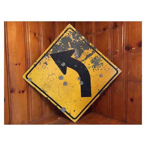 Vintage Left Curve Arrow Road Sign Signs Metal