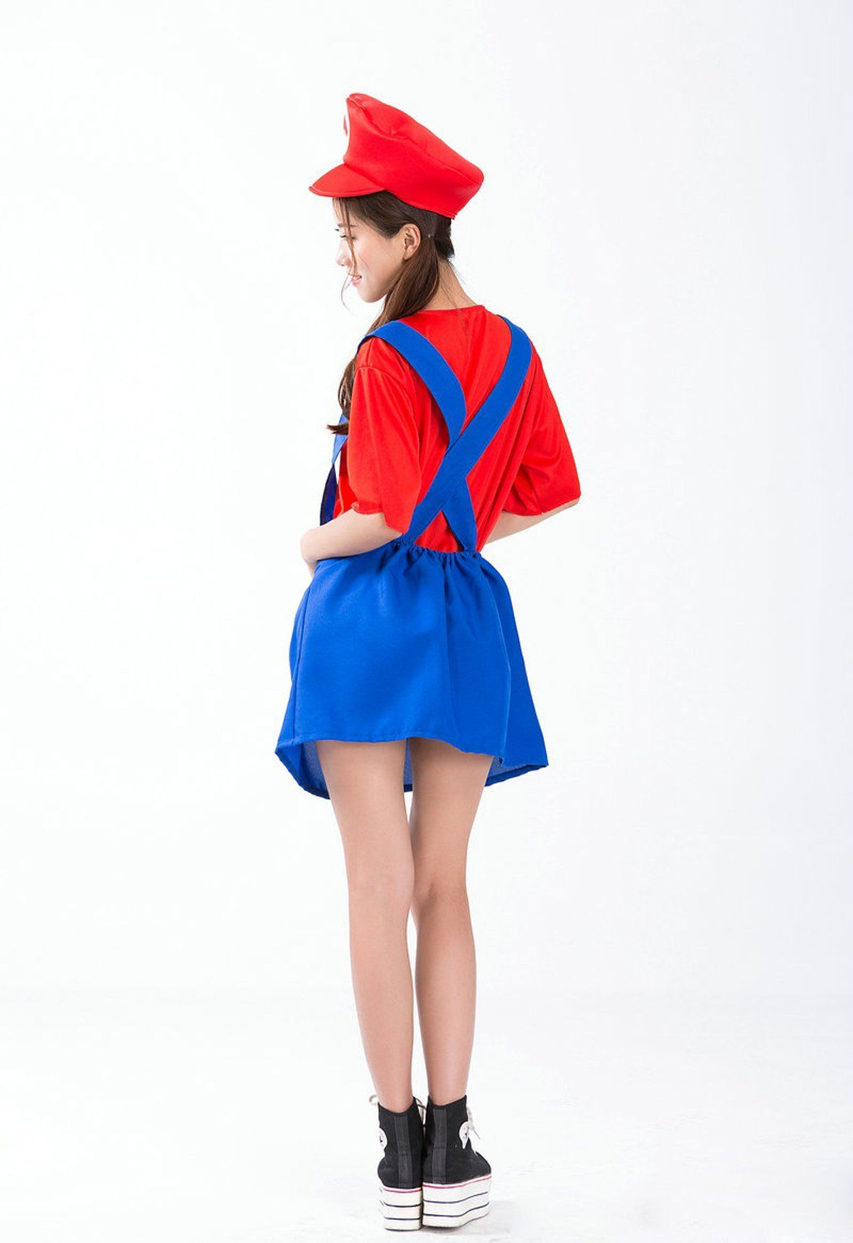 Halloween Mario Cosplay Plumber Costume Suspender Trousers Clothes (A-Girls Mario Dress (for 150-170cm))