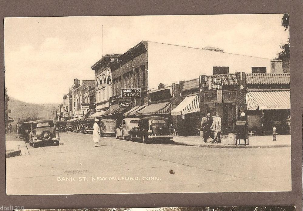 Set of 8 Historical Reproduction Black and White Postcards of New Milford CT