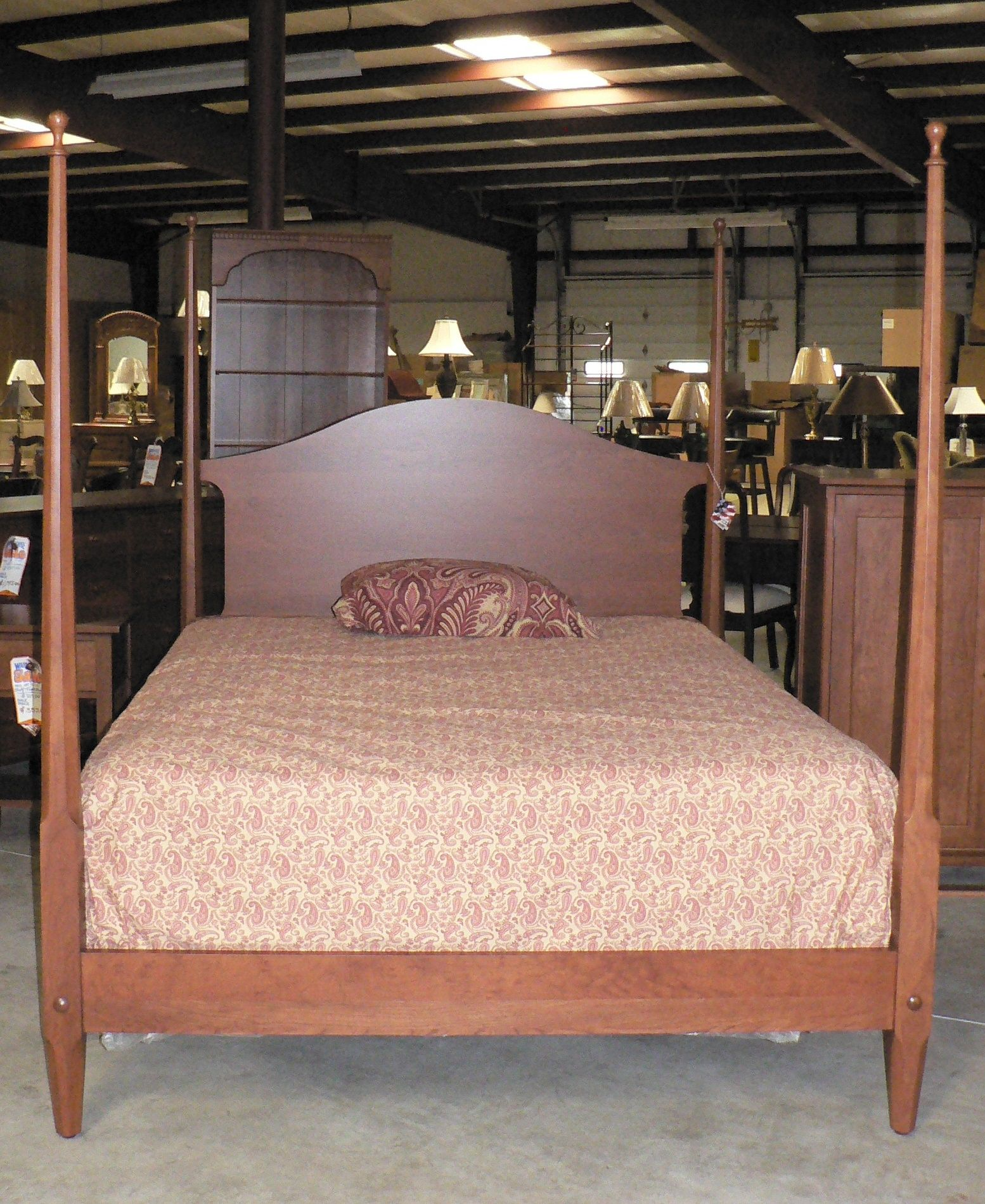Antique Pencil Post Rice Bed Gray White And Copper Bedroom: Cherry Shaker Pencil Post Bed By Colonial Furniture (570