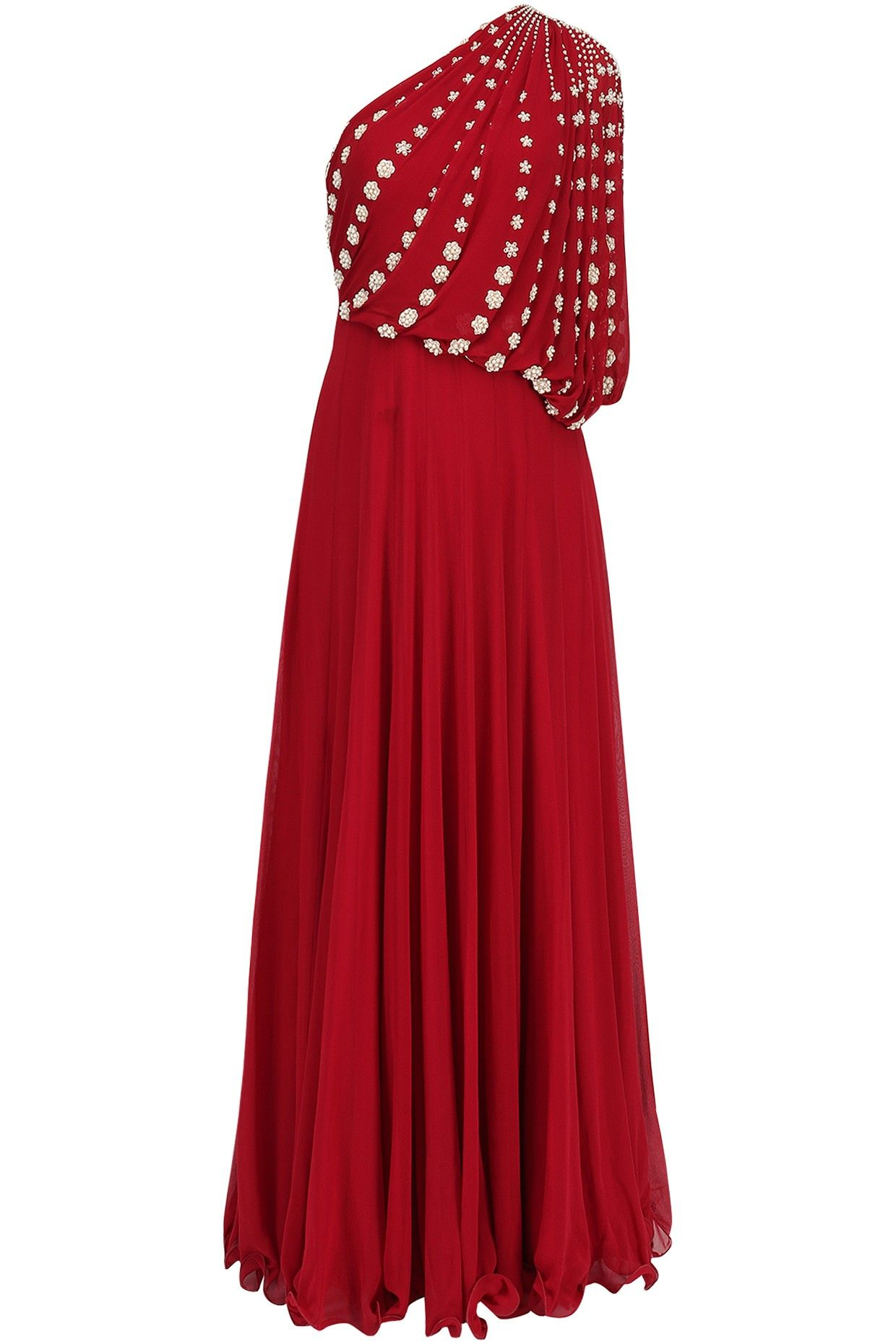 e8beb21ca68 Seema Thukral Red Embroidered Off Shoulder Gown