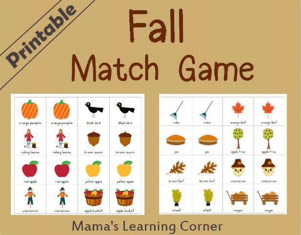 Printable Fall Match Game