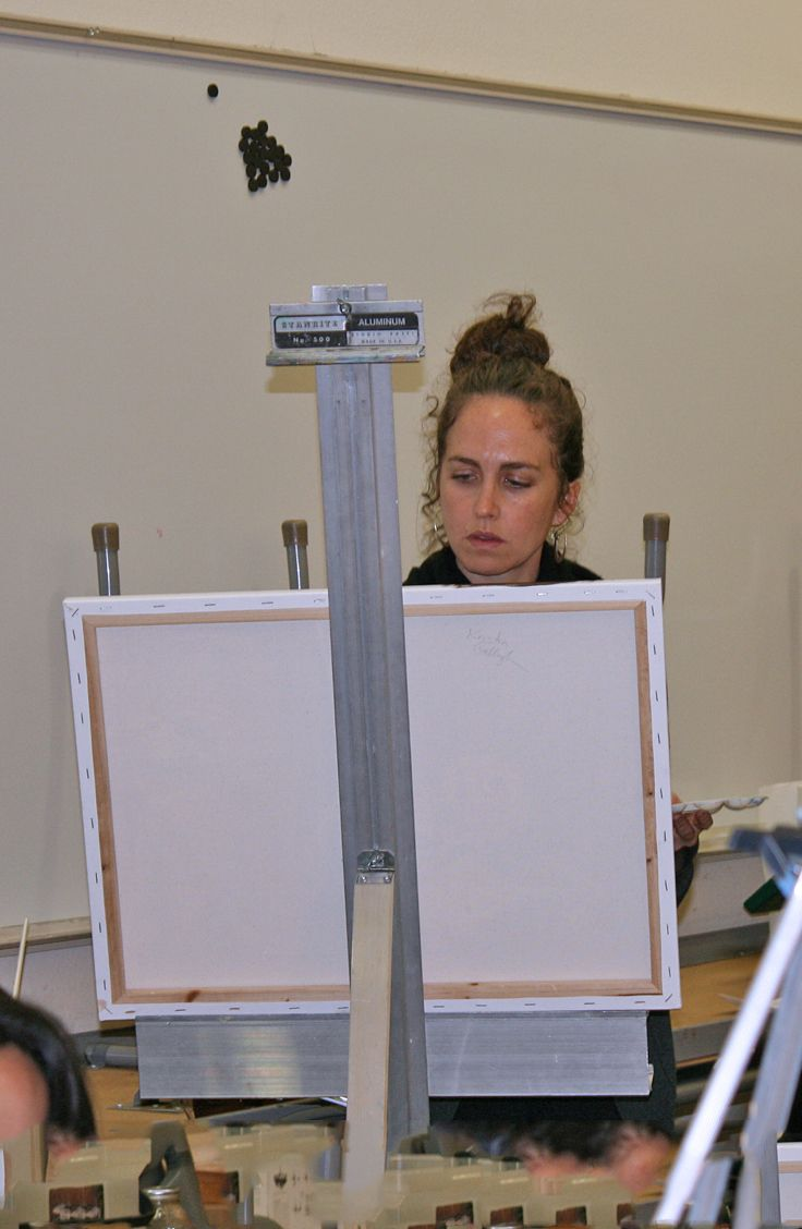 Mendocino College talented art students working on a still life in Johnathan Palmer's  oil painting class.