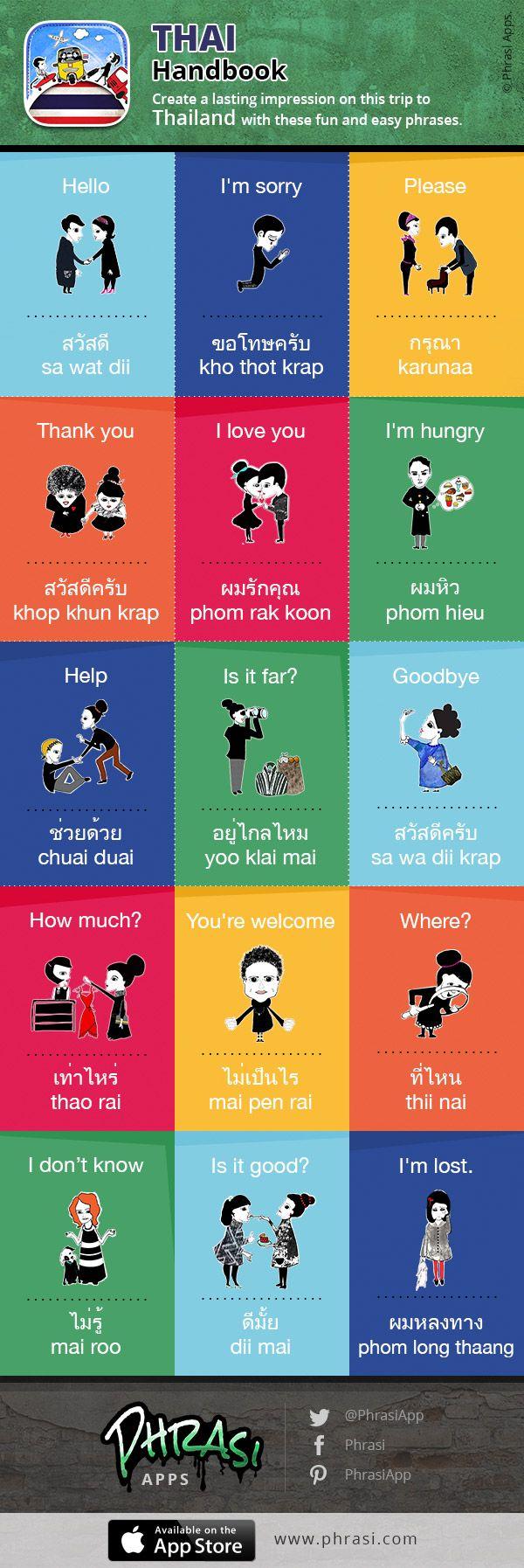 Fun And Easy Thai Phrases Thailand Pinterest Easy Language