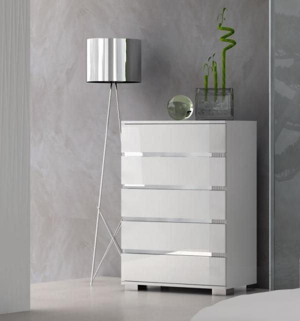Dream, 5 Drawer Chest of Drawers in White High Gloss - See more at: