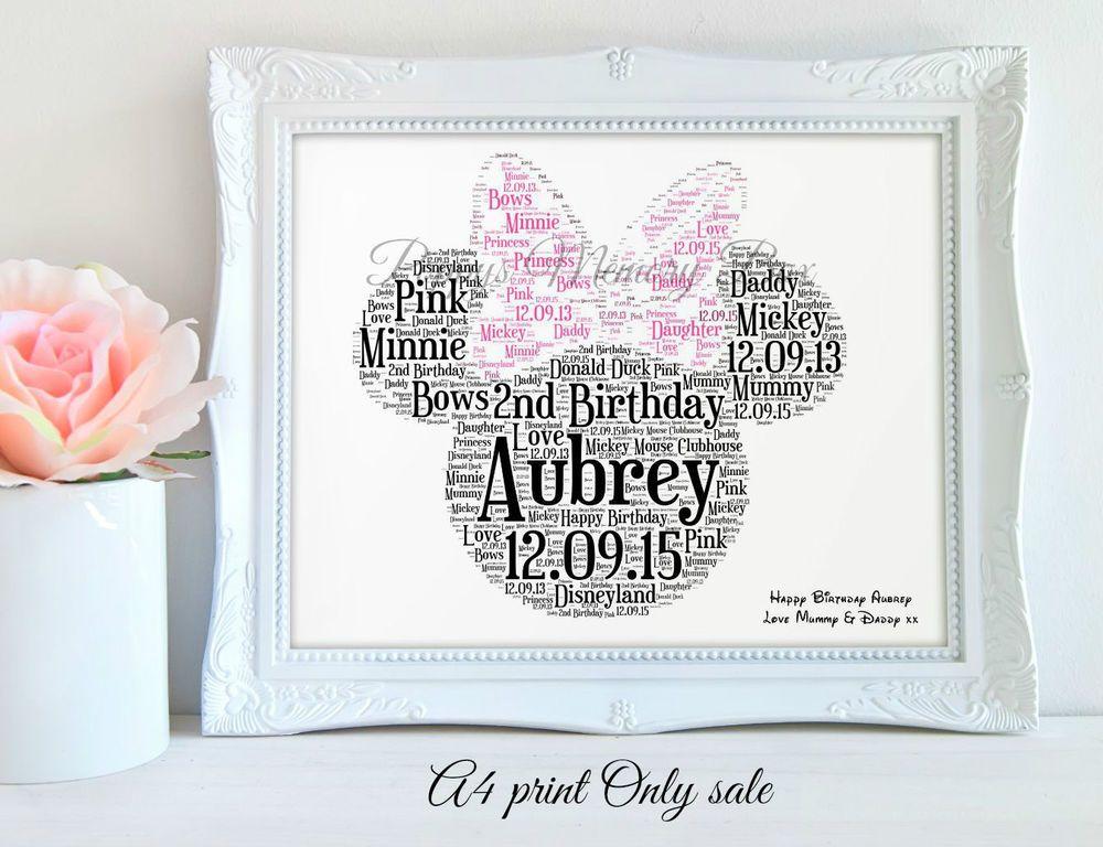 Personalised Minnie Mouse Disney Birthday wordart Gift