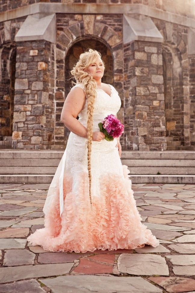 Here is a sleeveless plus size wedding gown made in a for Affordable non traditional wedding dresses