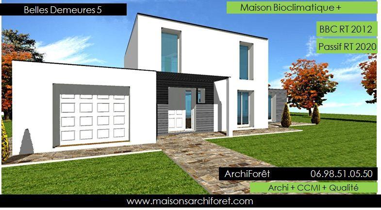 plan et photo de maison avec etage ossature bois par architecte