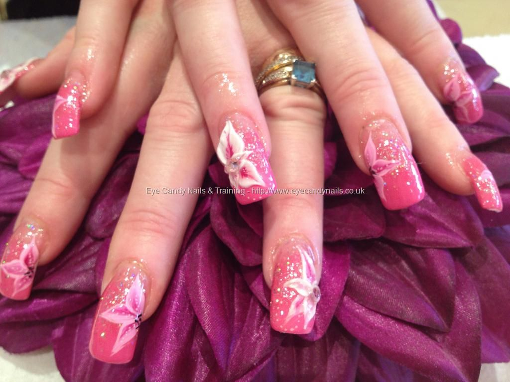 3D acrylic nail art with one stroke freehand nail art | Nails ...