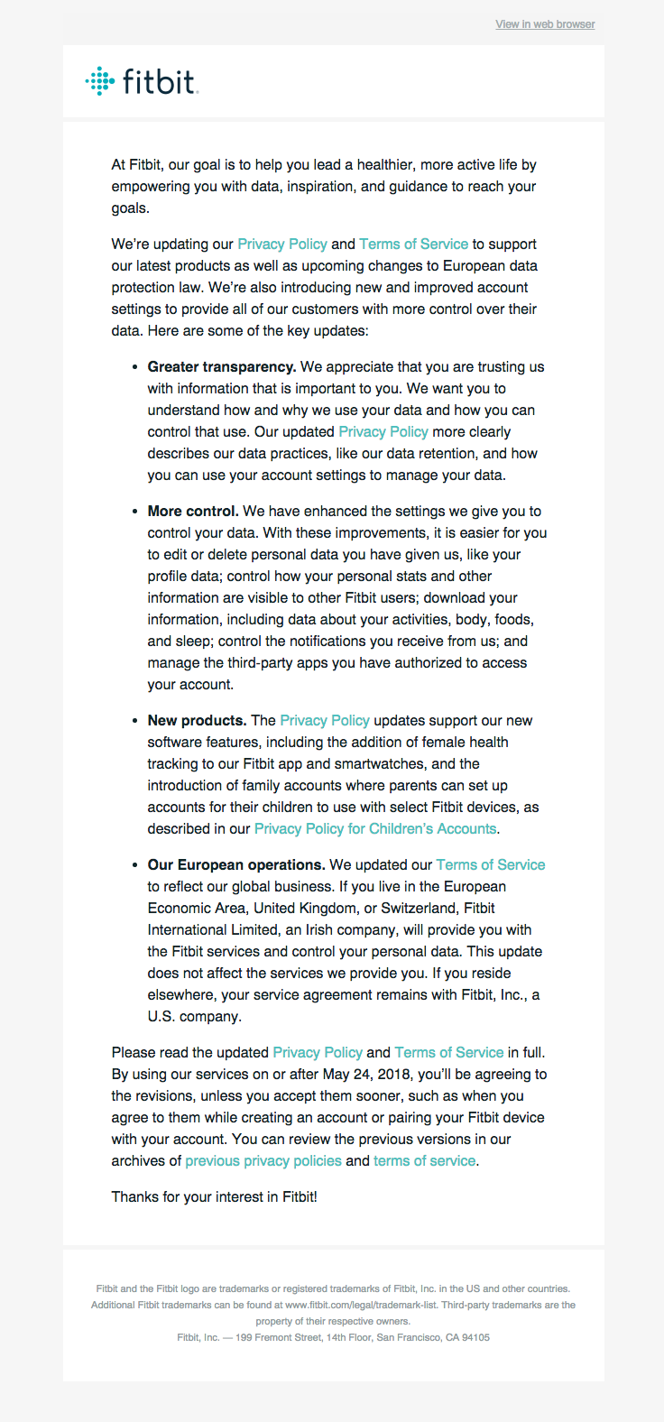 Fitbit Sent This Email With The Subject Line Updates To Fitbit Our Privacy Policy And Terms Of Service Read About T Privacy Policy Terms Of Service Fitbit
