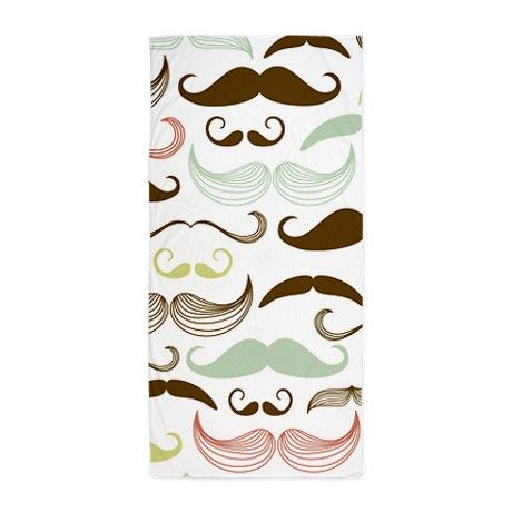 Towels Product cafepress | Art Gifts > Art Bathroom Accessories & Décor > Mustache Beach Towel