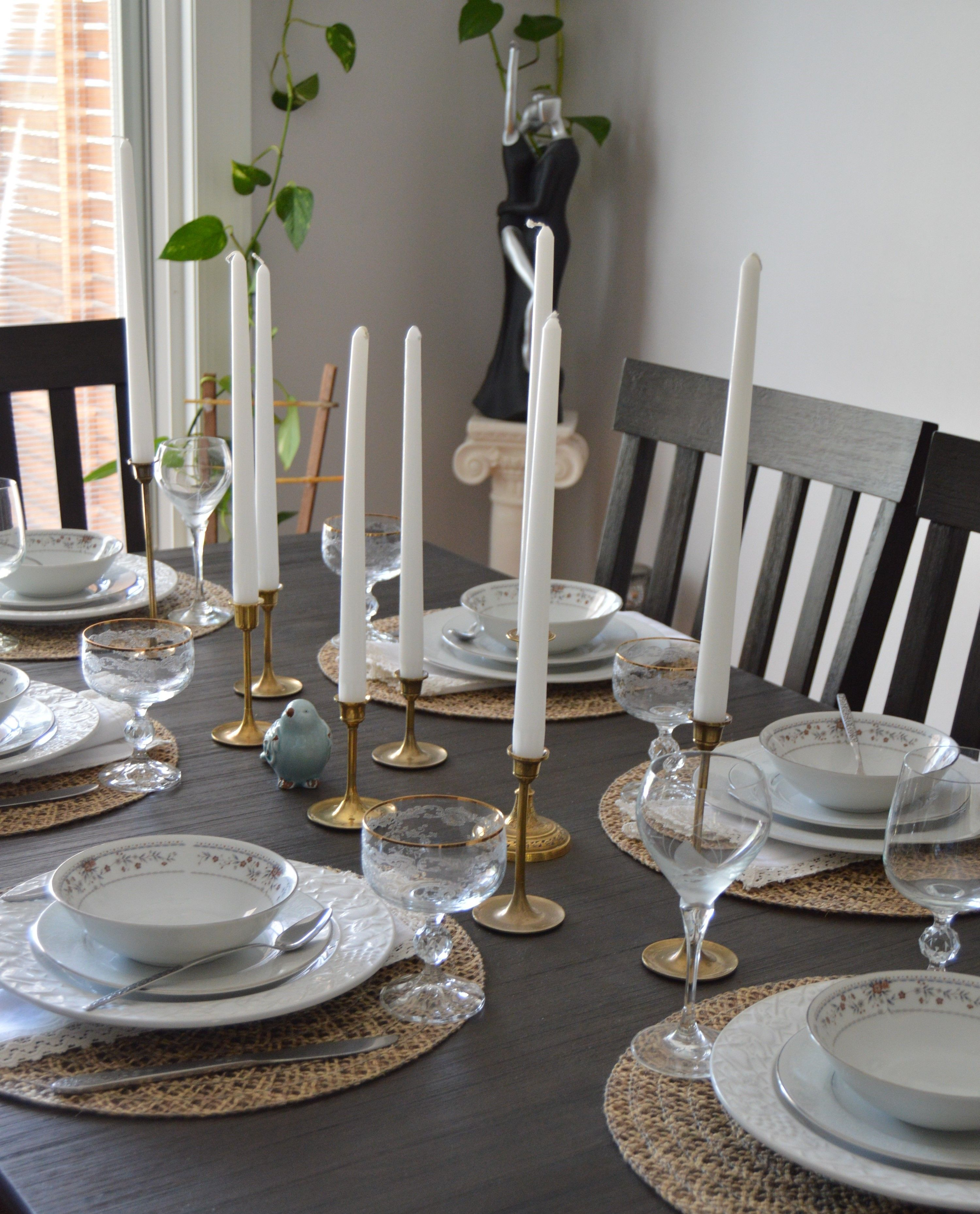 Tablescape Brass Candlesticks And Vintage Dinnerware Finds At Goodwill