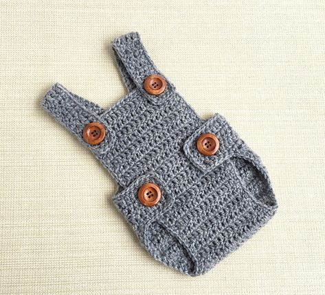 Photo of Baby Boy Romper. Newborn Picture Outfit 0-3 month Boy Clothes, Grey Crochet Overall. New born Photography Props. Babies Shower Gift Idea