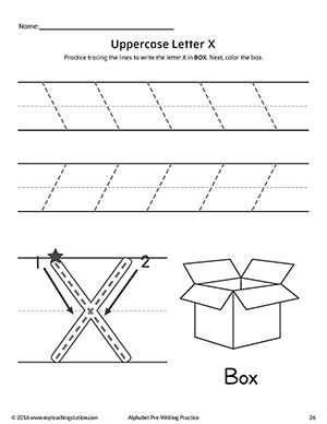 uppercase letter x pre writing practice worksheet alphabet worksheets pre writing practice. Black Bedroom Furniture Sets. Home Design Ideas