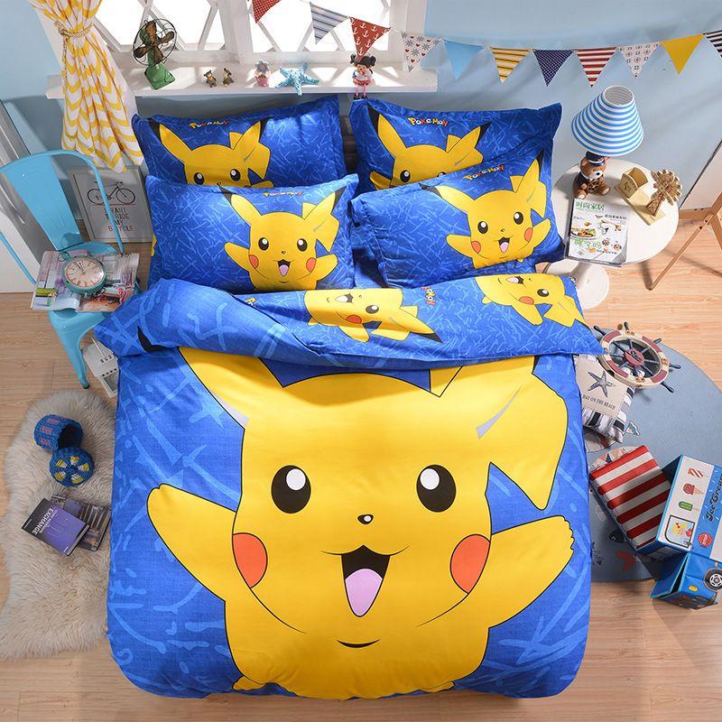 Home Textile Pikachu Printed Bedding Set 3d Cartoon Bed Linen For