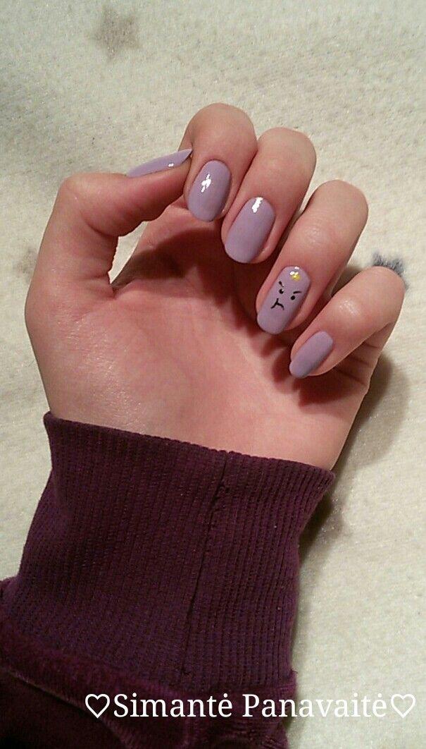 Lumpy Space Princess nail art. Purple, black, white and yellow nail ...