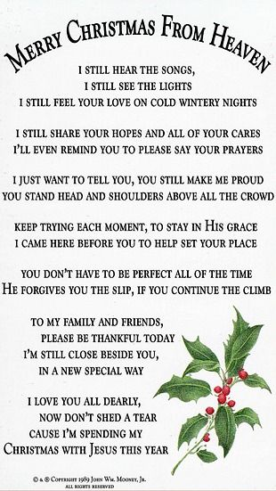 It is a photo of Merry Christmas From Heaven Poem Printable in first day heaven