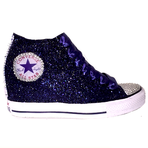 f58582f46d1d Navy Blue Glitter Converse All Stars Wedge Heels wedding bride prom  sneakers shoes