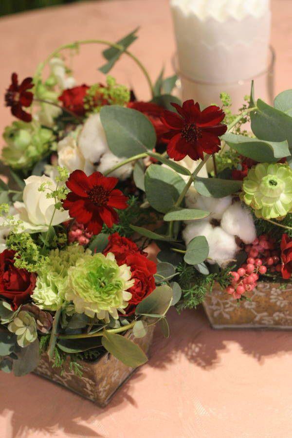 秋の終わりと冬のはじめに 紅葉と白雪 青山レ・クリスタリーヌ様の装花