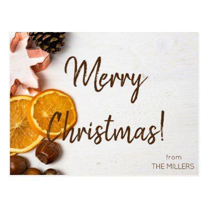 Custom Merry Christmas Family Postcard  Holiday Card Diy
