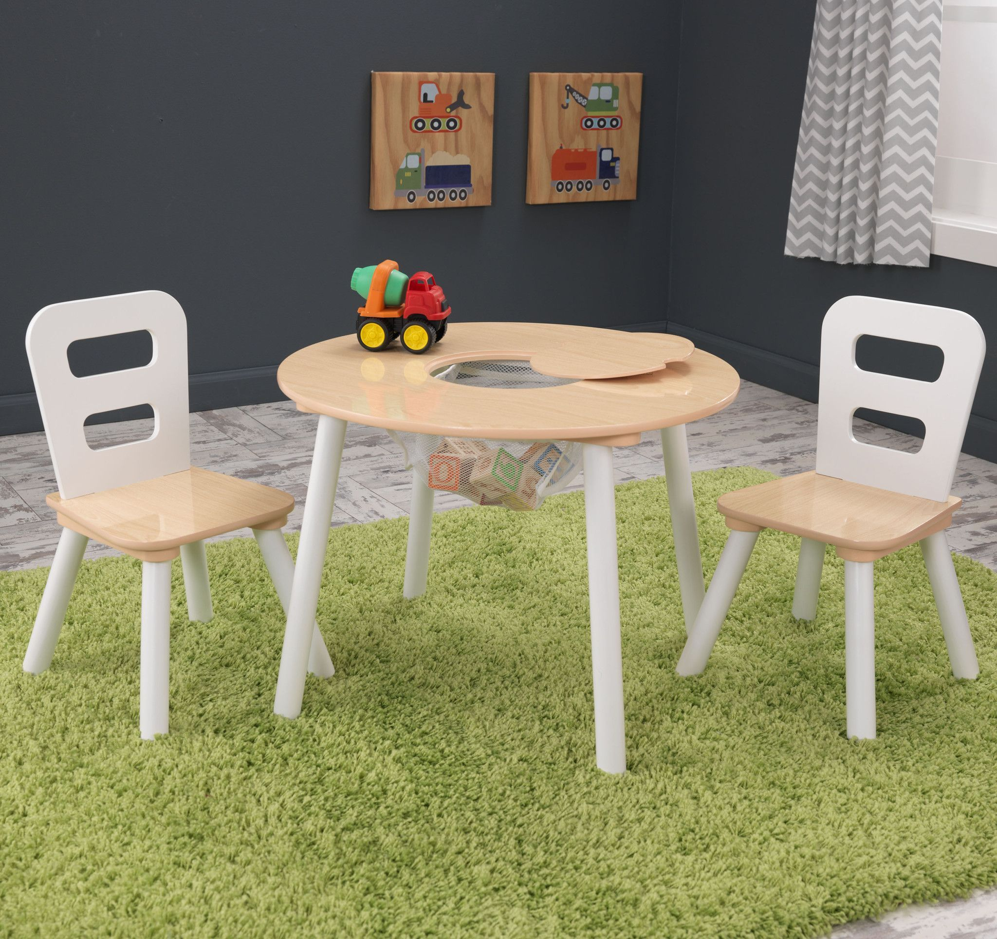 Kidkraft Round Table And 2 Chair Set Whitenatural.Kid Kraft Round Table 2 Chair Set White Natural 27027