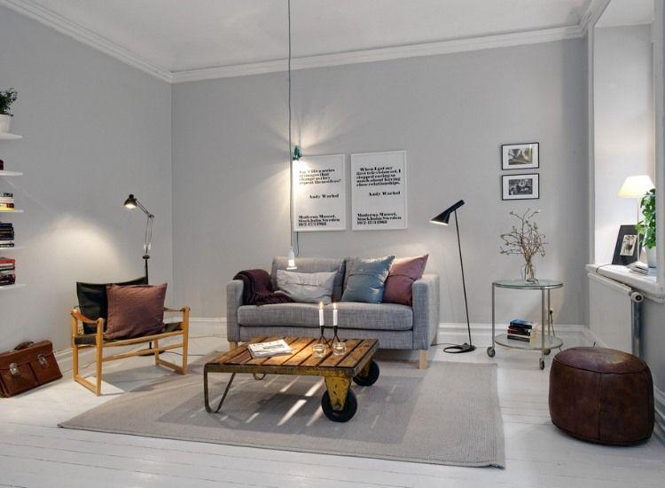Salón Minimal Clásico paredes gris, molduras techos luz vibia