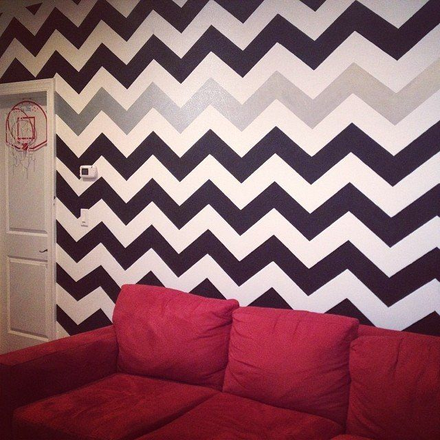Stripe-tastic Stencilng, Rachel! We this zippy pattern and bold color choice, how about YOU?  Buy it here: http://www.cuttingedgestencils.com/chevron-stencil-pattern.html And use the code FALL2013 to get 20% off!  #cuttingedgestencils #stencils #stenciling #wallstencils #chevron