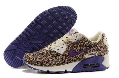 Nike Air Max 90 Womenss Running Shoes Flower Purple Brown Top Deals