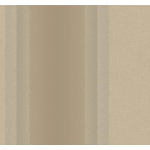 Ronald Redding Designer Damask Pearlescent Silver and Taupe Cinnabar Stripe Wallpaper