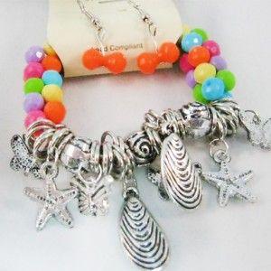 Earrings and Bracelet Charm Set