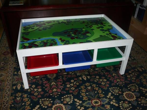 Train Table with 6 bins underneath for storage. In great condition. & Train Table with 6 bins underneath for storage. In great condition ...
